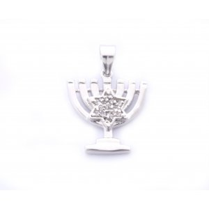 Gold Filled 7 Branch Menorah Pendant with Star of David