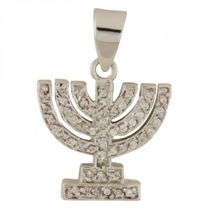 Seven Branch Menorah Pendant with Zircons