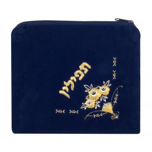 Flower Design Dark Blue Velvet Tefillin Bag