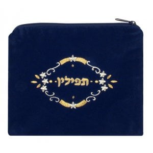 Three Stars Design Dark Blue Velvet Tefillin Bag