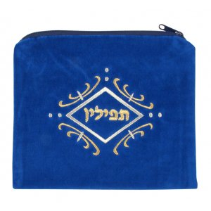 White Swirl Design Royal Blue Velvet Tefillin Bag