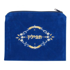 Three Stars Design Royal Blue Velvet Tefillin Bag