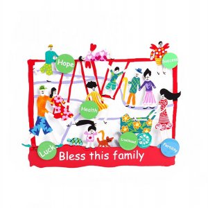 Tzuki Art Hand Painted Sculpture Park Scene, Bless this Family in English - Red