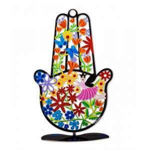 Tzuki Art Hand Painted Hamsa with Stand, Flower Display - Black Frame