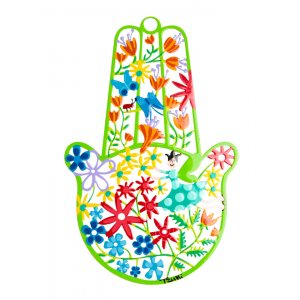 Tzuki Art Hand Painted Hamsa Flower Display - Green