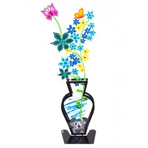 Tzuki Art Hand Painted Wildflowers and Butterfly in Vase on Base - Blue