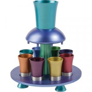 Yair Emanuel Aluminum Kiddush Fountain with Goblet, 8 Cups & Tray - Multicolored