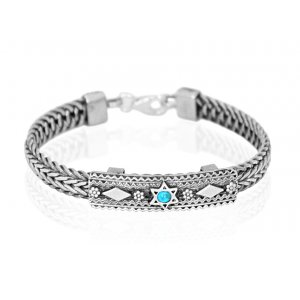 Turquoise Star of David Silver Bracelet by Golan Studio