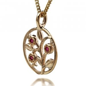 Gold Pomegranate Pendant with Rubies by HaAri Jewelry