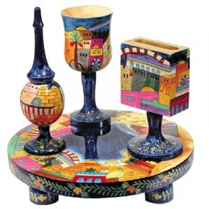 Yair Emanuel Hand Painted 4-Piece Wood Havdalah Set - Jerusalem