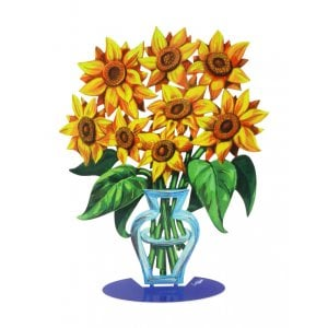 David Gerstein Free Standing Double Sided Flower Vase Sculpture - Sunflower
