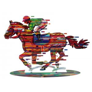 David Gerstein Free Standing Double Sided Horse and Rider Sculpture - Jockey