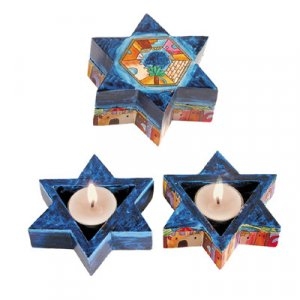 Yair Emanuel Star of David Travelling Candlesticks - Jerusalem