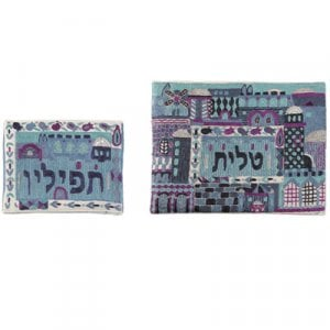 Yair Emanuel Raw Cotton Blue Tallit & Tefillin Bag Embroidered Jerusalem Scenes