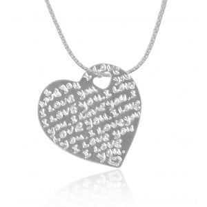 Silver English-Hebrew I Love You Pendant by Golan Studio