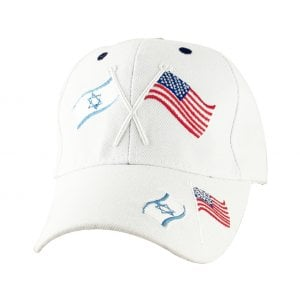 Israel-US Flag White Cap