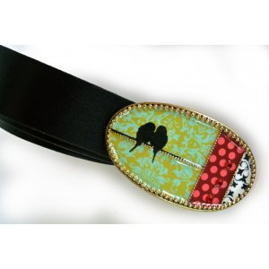 Leather Belt with Enamel Bird Buckle by Iris Design