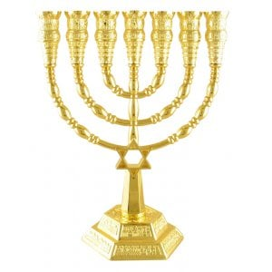 Gold color Star of David 7 Branch Menorah
