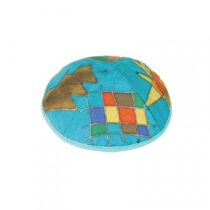 Yair Emanuel Hand Painted Silk Kippah, Turquoise - Twelve Tribes Images