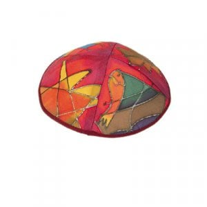 Yair Emanuel Hand Painted Silk Kippah, Red - Judaica motifs
