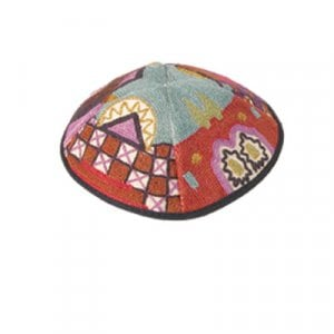 Yair Emanuel Hand Embroidered Red Cotton Kippah - Jerusalem Images