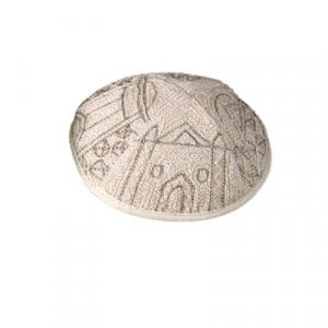 Yair Emanuel Hand Embroidered Silver Cotton Kippah - Jerusalem Images