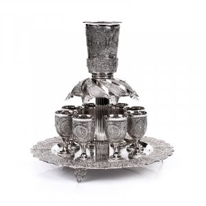 Silver Plated Kiddush Fountain with 8 Small Cups - Filigree Design