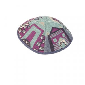 Yair Emanuel Hand Embroidered Blue Cotton Kippah - Jerusalem Images