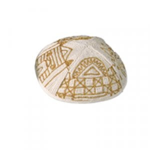 Yair Emanuel Hand Embroidered Gold Cotton Kippah - Jerusalem Images