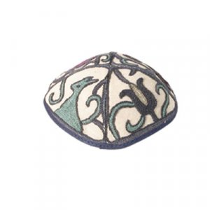 Yair Emanuel Hand Embroidered Blue Cotton Kippah - Birds & Flowers