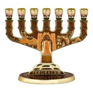 Lively Bronze Enamel Jerusalem Seven Branch Menorah