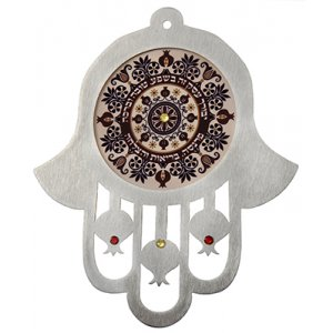 Dorit Judaica Purple Shades Stainless Steel Wall Hamsa Business Blessing - Hebrew