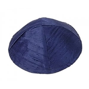 Yair Emanuel Basic Raw Silk Kippah - Dark Blue