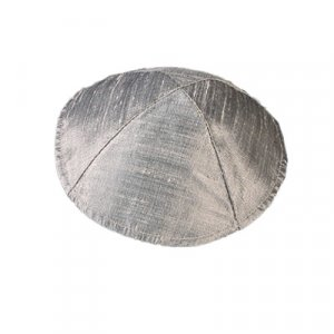 Yair Emanuel Basic Raw Silk Kippah - Silver Grey