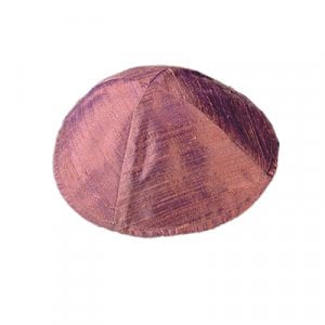 Yair Emanuel Basic Raw Silk Kippah - Burgundy