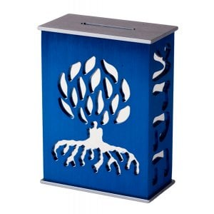 Avner Agayof Tree Of Life Aluminum Tzedakah Box - Blue
