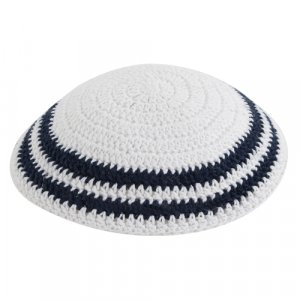 White Knitted Kippah with Dark Blue Stripe