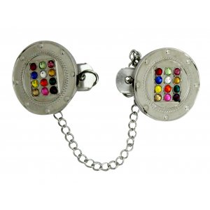 Tallit Prayer Shawl Clips, Nickel Plated – Colorful Circular Breastplate Image
