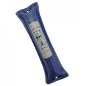 Blue Ceramic Mezuzah Case with Fish by Michal ben Yosef