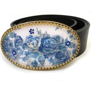 Leather Belt with Floral Enamel Buckle by Iris Design
