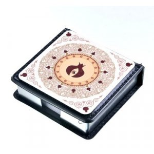 Dorit Judaica Hard Cover Business Memo Pad Pomegranate Wheel - Swarovski Stone