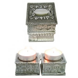 Compact Travel Candlesticks, Nickel - Jerusalem Design Shabbat Kodesh Words