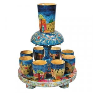 Yair Emanuel Hand Painted Wood Kiddush Fountain Set, 8 Cups - Jerusalem Design