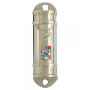 Nickel Plated Car Mezuzah – Colorful Breastplate Image