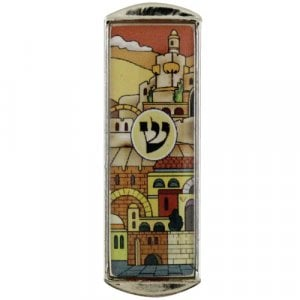Nickel Plated Car Mezuzah – Colorful Jerusalem Images