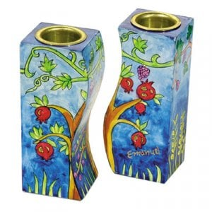 Yair Emanuel Hand-Painted Wood Fitted Candlesticks - Pomegranates
