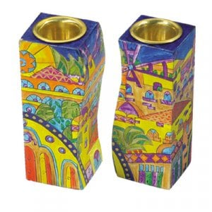 Yair Emanuel Hand-Painted Wood Fitted Candlesticks - Golden Jerusalem