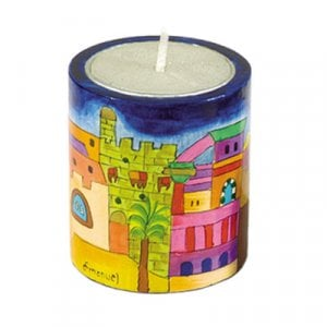 Yair Emanuel Yahrzeit Memorial Hand Painted Wood Candle Holder - Jerusalem