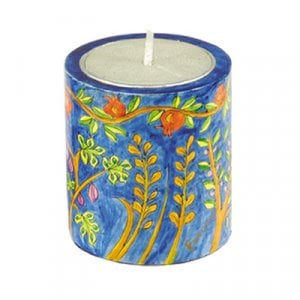 Yair Emanuel Yahrzeit Memorial Hand Painted Wood Candle Holder - Seven Species