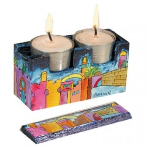 Yair Emanuel Hand Painted Travel Shabbat Candlesticks in Wood Box - Jerusalem
